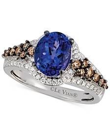 Tanzanite (1-3/4 ct. t.w.) and Diamond (5/8 ct. t.w.) Ring in 14k White Gold