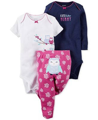 Carter s Baby Girls 3 Pc Owl Bodysuits & Pants Set