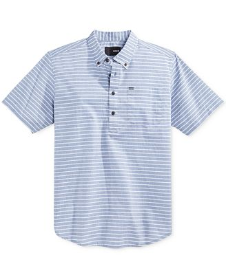 Hurley Men's Half-Closure Button-Down Short-Sleeve Shirt - Casual ...