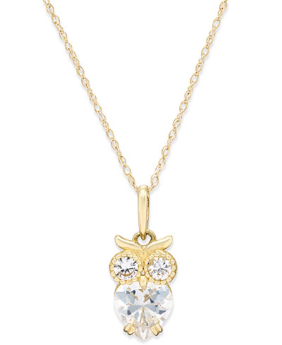 Cubic Zirconia Owl Pendant Necklace in 10k Gold