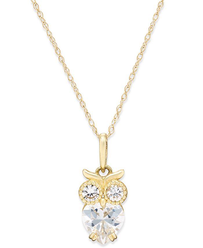 Macy's - Cubic Zirconia Owl Pendant Necklace in 10k Gold