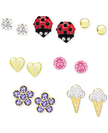Children's Seven Days of the Week 7-Pc Set Stud Earrings in Sterling Silver and 18k Gold-Plated Sterling Silver