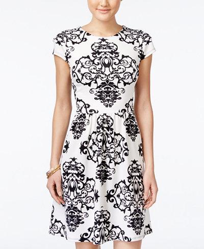 B Darlin Juniors' Printed Illusion-Back Fit & Flare Dress