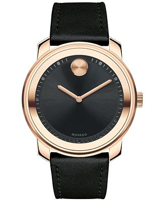 movado s swiss bold black leather 43mm
