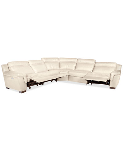 CLOSEOUT! Julius 5-pc Leather Sectional Sofa with 3 Power Recliners, Created for Macy's