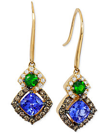 Le Vian Chocolatier® Neo Geo™ Multi-Gemstone (1-1/4 ct. t.w.) and Diamond (1/2 ct. t.w.) Drop Earrings in 14k Gold, Created for Macy's