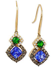 Le Vian Chocolatier® Neo Geo™ Multi-Gemstone (1-1/4 ct. t.w.) and Diamond (1/2 ct. t.w.) Drop Earrings in 14k Gold, Created for Macy's