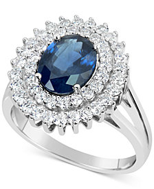 Sapphire (2-1/5 ct. t.w.) and Diamond (3/4 ct. t.w.) Ring in 14k White Gold