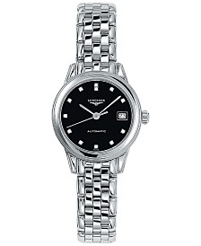 Longines Women's Swiss Automatic Flagship Diamond Accent Stainless Steel Bracelet Watch 26mm L42744576