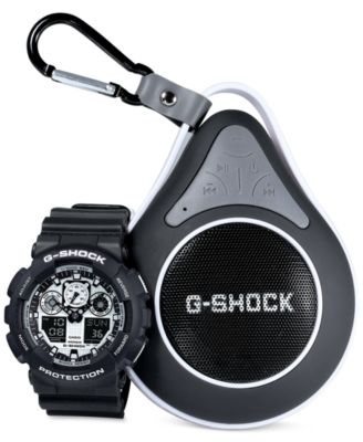 Image of G-Shock Men's Analog-Digital Black Resin Strap Watch with Bluetooth Waterproof Speaker Gift Set 55x5
