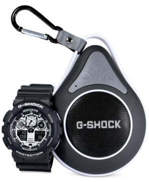G-Shock Men's Analog-Digital Black Resin Strap Watch with Bluetooth Waterproof Speaker Gift Set 55x51mm GA100BW-1ABT