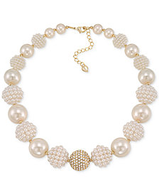 Carolee Gold-Tone Imitation Pearl and Fireball Collar Necklace