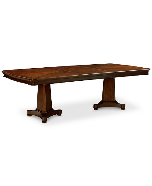 Double Pedestal Dining Room Table: Furniture Bordeaux Double Pedestal Expandable Dining Table