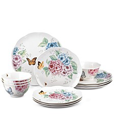 Butterfly Meadow Hydrangea Collection 12-Pc. Dinnerware Set, Service for 4