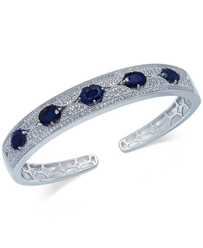 Blue Sapphire (5 ct. t.w.) and White Sapphire (1 ct. t.w.) Cuff Bracelet in Sterling Silver, Created for Macy's