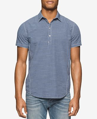 Calvin Klein Jeans Men's Half-Snap Closure Striped Short-Sleeve ...