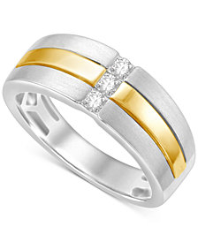 Men's Diamond Two-Tone Ring (1/4 ct. t.w.) in 10k White and Yellow Go