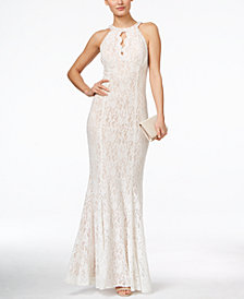 Nightway Lace Keyhole Halter Gown