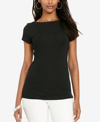 Lauren ralph lauren stretch boat neck t shirt tops for Boat neck t shirt women s