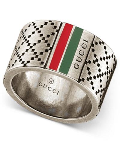 Gucci Men's Sterling Silver Diamond Pattern Wide Ring YBC295674001022
