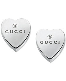 Gucci Women's Sterling Silver Heart Shape Trademark Engraved Stud Earrings YBD22399000100U