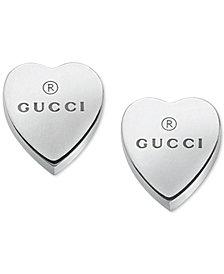 Gucci Women's Sterling Silver Heart Shape Trademark Engraved Stud Earrings YBD22399000100U
