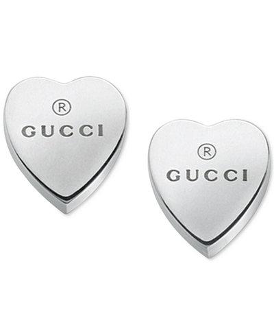 Gucci Women S Sterling Silver Heart Shape Trademark Engraved Stud Earrings Ybd22399000100u