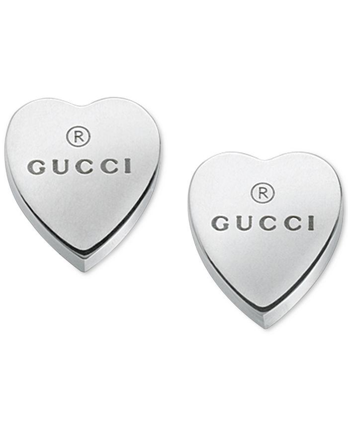 Gucci - Women's Sterling Silver Heart Shape Trademark Engraved Stud Earrings YBD22399000100U