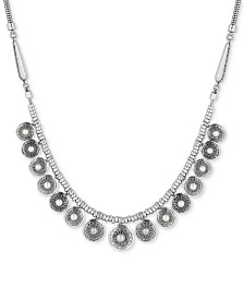 Lucky Brand Silver-Tone Imitation Pearl Multi-Disc Statement Necklace