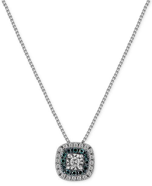 Macy's Diamond Multicolor Pendant Necklace (1/4 ct. t.w.) in Sterling Silver