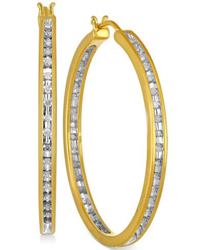 Diamond Hoop Earrings (1/2 ct. t.w.) in Sterling Silver and 14k Gold