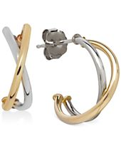 Two-Tone Crisscross Hoop Earrings in 10k White and Yellow Gold