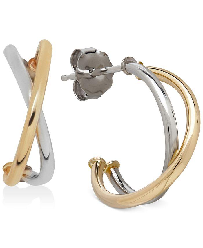 Macy's - Two-Tone Crisscross Hoop Earrings in 10k White and Yellow Gold