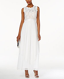 R & M Richards Petite Sequined Lace and Chiffon Gown