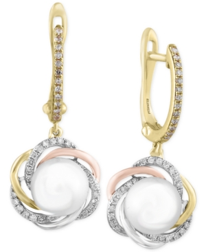 Effy Cultured Freshwater Pearl (7mm) and Diamond (1/4 ct. t.w.) Tri-Tone Drop Earrings in 14k Yellow, Rose, and White Gold