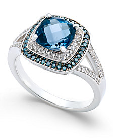 London Blue Topaz (1-3/4 ct. t.w.) and Diamond (1/4 ct. t.w.) Double Halo Ring in 14k White Gold