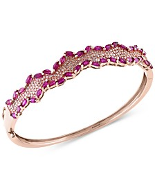 Rosa by EFFY Ruby (4-3/8 ct. t.w.) and Diamond (3/4 ct. t.w.) Bangle Bracelet in 14k Rose Gold, Created for Macy's