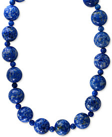 EFFY® Lapis Lazuli (4 & 12mm) Beaded Collar Necklace in 14k Gold