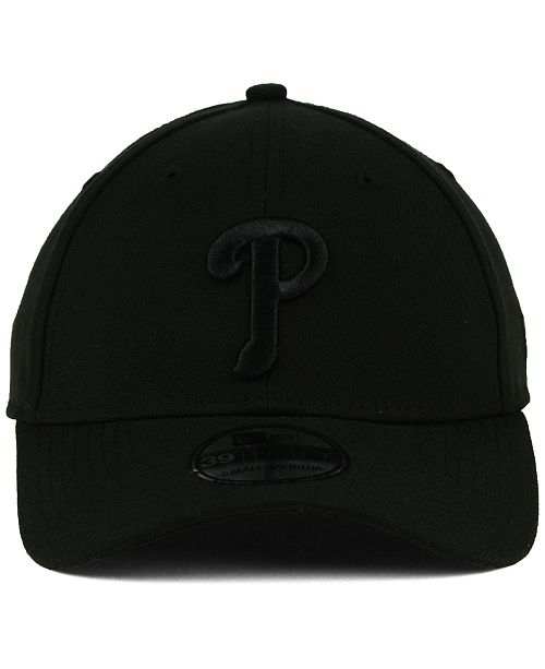 a77342bbb12 New Era. Philadelphia Phillies Black on Black Classic 39THIRTY Cap. Be the  first to Write a Review. main image  main image  main image ...