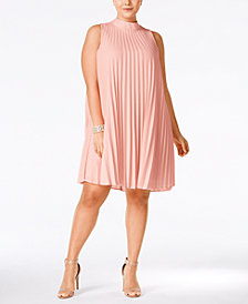 Soprano Plus Size High-Neck Pleated Shift Dress
