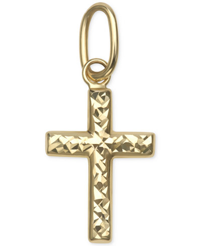 Small Textured Cross Pendant in 14k Gold