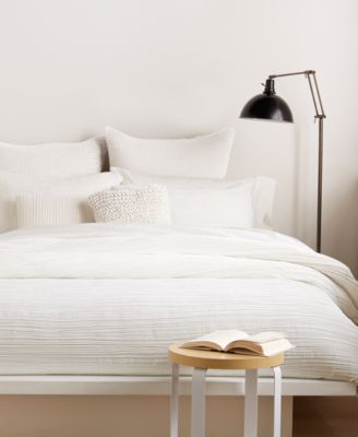 City Pleat White Twin Duvet Cover