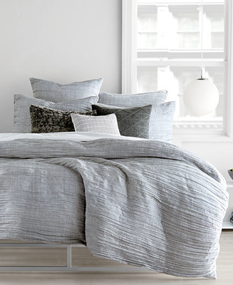 DKNY City Pleat Gray Duvet Covers - Bedding Collections - Bed & Bath ...