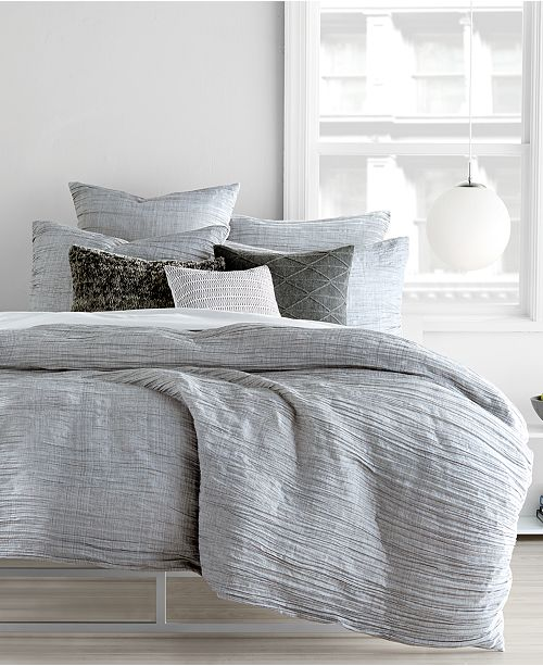 DKNY City Pleat Gray King Duvet Cover