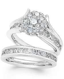 Diamond Cluster and Channel-Set Bridal Set (2 ct. t.w.) in 14k White Gold