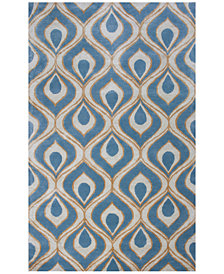 "Kas Bob Mackie Home 1019 Blue Eye of the Peacock 7'6"" Round Rug"