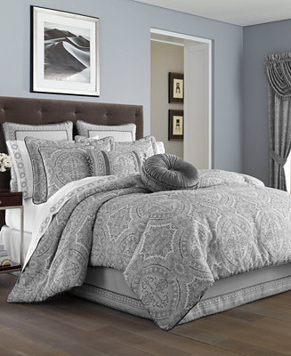 J Queen New York Colette Silver Comforter Sets Bedding