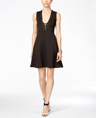 Jessica Simpson Sleeveless Lace Up Scuba Fit Amp Flare Dress