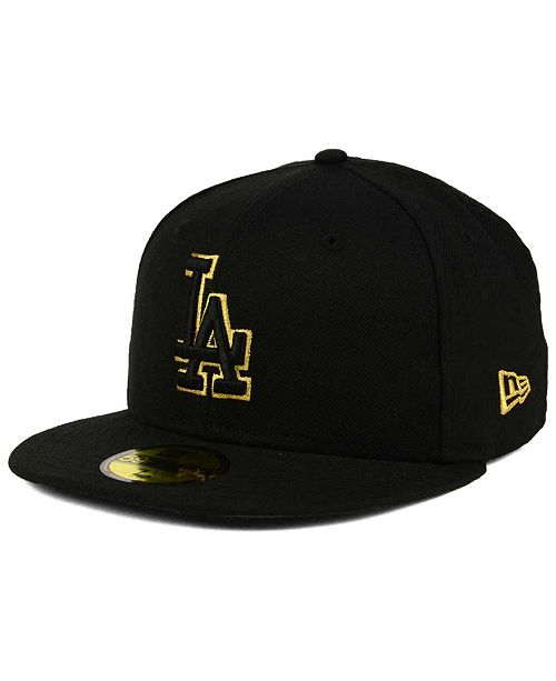 1a8efc34ce9 ... New Era Los Angeles Dodgers Black On Metallic Gold 59FIFTY Fitted Cap  ...
