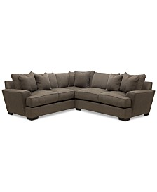"CLOSEOUT! Ainsley 2-Piece ""L"" Shaped Fabric Sectional with 6 Toss Pillows, Created for Macy's"